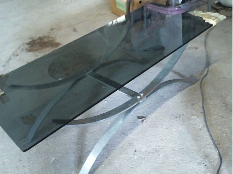table basse  verre/matal