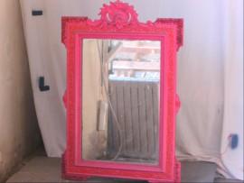 Grand miroir bois rose